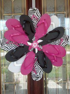 Zebra Print  Hot Pink Flip Flop Wreath Girls Bedroom ...