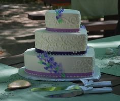 Heart shaped Wedding Cake with Lavender and Purple Butterflies - and Fleurish Scrolls Decorating - Top Tier Wedding Cakes