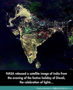 The Diwali Satellite image of India is fake! Do you know where this viral satellite image of India came from? Learn more about the 5 days of Diwali here. Hindu Festival Of Lights, Hindu Festivals, Indian Festivals, Land Art, Diwali Lights, Happy Images, Funny Images, Funny Photos, Earth From Space