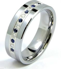 Diamond Sapphire Tungsten Modern Men's Wedding Ring Band 8mm 0.25ct Anniversary