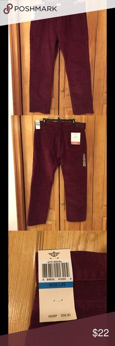 New Men's Maroon Corduroy Dockers W36 L29 New with tags. Jean cut straight fit. Rare size for men! Let me know if you would like more pictures! Dockers Pants Corduroy