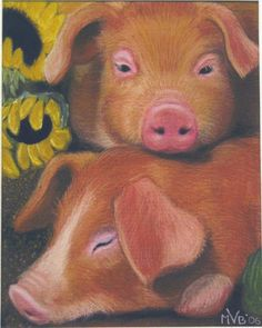 took like over 30 hours i think these pigs were my only friends for like two months. i am not kidd. Pig Drawing, Painting & Drawing, Pig Illustration, Illustrations, Pig Crafts, Pig Art, Cute Pigs, Beautiful Paintings, Make You Smile