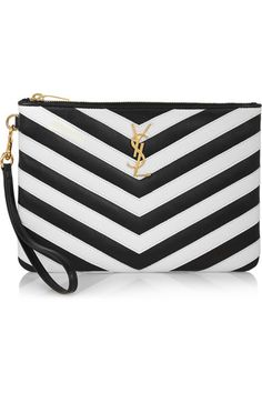 c4061ed43a32 Saint Laurent - Monogramme chevron-appliquéd leather pouch. Leather Pouch Black White FashionFashion BagsChevronBag ...