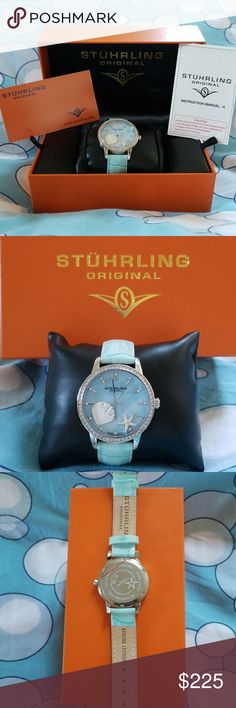 ⌚Stuhrling⌚ Women Light Blue Watch * Alligator Embossed Genuine Leather Strap * Swarovski Crystal Studded Bezel  * 5 ATM water resistant * New in original box with authenticate cards Stuhrling Other