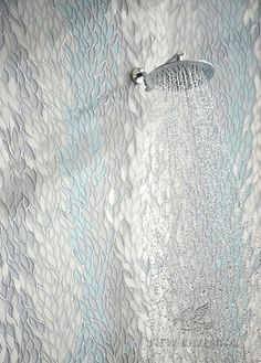 Cascade stone waterjet mosaic in Tropical White, Infinity, Island Fog glass, and polished Snow White stone | The Altimetry Collection for New Ravenna