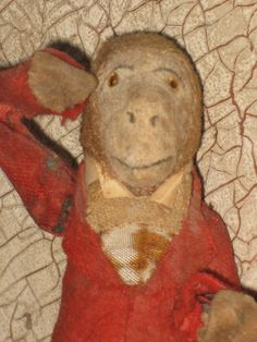 Antique Monkey Mechanical Mohair Old Wind Up Toy Tin Glass Eyes