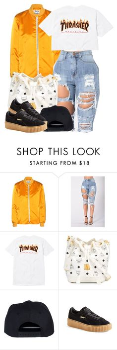 """Baby you got lucky cause you're rocking with the best."" by cheerstostyle ❤ liked on Polyvore featuring Acne Studios, MCM and Puma"