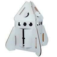 Awesome Cardboard rocket ship -- that you can climb in!