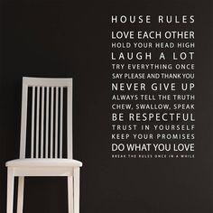 'house rules' wall sticker by parkins interiors | notonthehighstreet.com