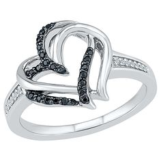 0.12 CT. T.W. Round White and Black Diamond Prong Set Heart Ring in Sterling Silver (