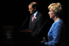 U.S. Senate candidates, Democrat Richard Blumenthal and Republican Linda McMahon debate on the stage at the Garde Arts Center on October 12, 2010 in New London, Connecticut. Blumenthal, the Connecticut Attorney General, is battling the former World Wrestling CEO McMahon for the senate seat being vacated by Senator Chris Dodd. (Photo by Dana Jensen-Pool/Getty Images)  via @AOL_Lifestyle Read more…