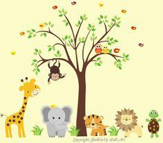 Nursery Wall Decal with Giraffe, Elephant, Tiger, Lion, Turtle - Baby Wall Decals - Nursery Wall Decals - 400. $195.00, via Etsy.