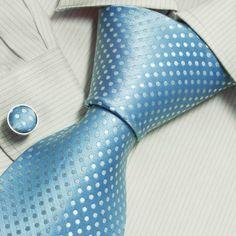 Blue Men Neck Ties White Polka Dots