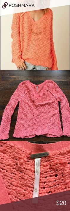 Free People Boucle Loose Sweater Sweet and cozy sweater from free People. Peach in color like the photos of the actual sweater. Pre loved. No holes or stains but has some wear on the sleeves and bottom. Size xs but fits loose. Free People Sweaters