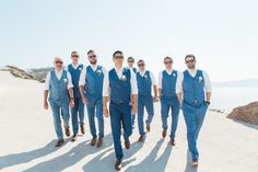 Grooms in Blue Waistcoats & Bow Ties | Tie the Knot Santorini Wedding Planners | Rocabella Hotel Venue | Anna Rouses Photography | http://www.rockmywedding.co.uk/eleanor-wayne/