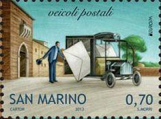 "europa stamps: San Marino 2013 - Europa 2013 ""The postman van"" celebrating PostEuropa's 20th anniversary - 1993-2013"