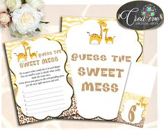 Baby Shower Spots Baby Shower Wildlife Detective Game Sweet Mess GUESS THE SWEET Mess, Party Theme, Party Organizing - sa001 #babyshowergames #babyshower