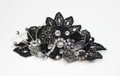 Black hair comb Floral hair clip Black Wedding by BrassBoheme, $59.00