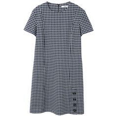 MANGO Buttoned check dress (205 PLN) ❤ liked on Polyvore featuring dresses, blue, straight dresses, short-sleeve dresses, short sleeve dress, blue checked dress and mango dresses
