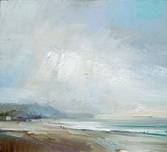 Fine Rain and Sea Light Charmouth Beach Dorset. Oil on board 46x51cm. David Atkins