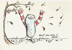 """Konrad liebt im Herbst mit den Blättern zu tanzen...  Aktionbeitrag zur Aktion """"HerbstPoesie"""" von TeamKunstRaub. Als Vorlage diente das Lied """"Bun..."""