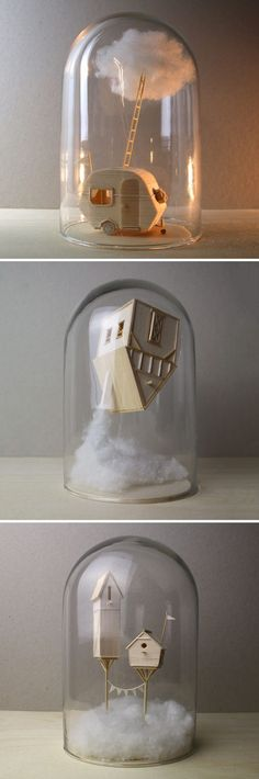 Miniature Narrative-Based Sculptures Created From Balsa Wood by Vera van Wolfere. - Miniature Narrative-Based Sculptures Created From Balsa Wood by Vera van Wolferen. Diy And Crafts, Arts And Crafts, Wood Crafts, Ideias Diy, Glass Domes, Decoration, Artsy Fartsy, Amazing Art, Awesome