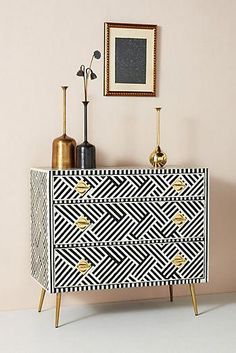 May 2020 - Optical Inlay Three-Drawer Dresser by Anthropologie in Black Size: All, Tables Home Decor Trends, Decor, Furniture Diy, New Furniture, Furniture, Furniture Makeover, Trending Decor, Interior, Three Drawer Dresser