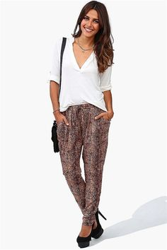 Snake Skin Harem Pants in Brown for a day of comfort.