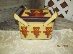 Vintage Dancing Teddy Bear Picnic Basket Tin Can Canister Kitchen Living room Decor by EvenTheKitchenSinkOH on Etsy