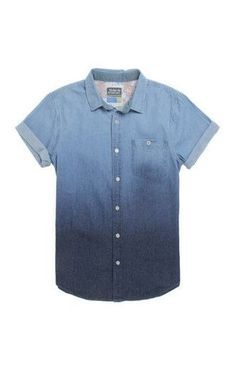Modern Amusement Fun Dipped Short Sleeve Woven Shirt