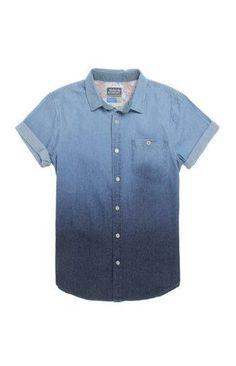 Modern Amusement Fun Dipped Short Sleeve Woven Shirt