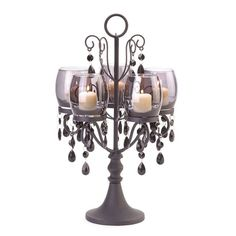 Midnight Elegance Candelabra $34.95 https://www.facebook.com/Twogirlsdecor/posts/792353760880772:0 #candleholder #decor #twogirlsdecor #candelabra #metal #ornate #elegant #homedecor #beaded #tabletop