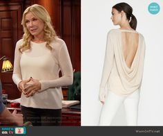 Brooke's beige sweater with cowl back on The Bold and the Beautiful.  Outfit Details: https://wornontv.net/67516/ #TheBoldandtheBeautiful