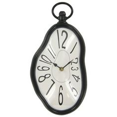 Sara - this looks like it belongs in 'Alice' decor....Its at Hobby Lobby... Black Plastic Melted Wall Clock