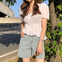 [Limited Time Offer]=> This particular Tshirt Fashion For Tshirt Design Summer. Korean Fashion Trends, Korean Street Fashion, Korea Fashion, Girl Fashion, Fashion Outfits, Basic Outfits, Korean Outfits, Cute Casual Outfits, Simple Outfits