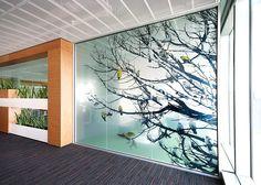 tree in the office | window glass foil