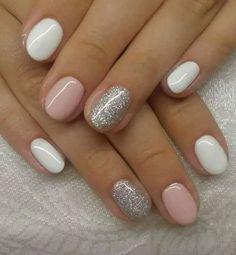 White Gel Nails, Glitter Gel Nails, White Nail Art, Pink Nails, Silver Glitter, Acrylic Nails, Sparkly Nails, Glitter Art, Coffin Nails
