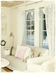 Maria ja pojat: Viirinauha Rustic White, Shabby Chic, Comfy, House Design, Curtains, Cottages, Living Rooms, Beige, Furniture
