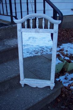Large Rustic Wall mirror hand painted Antique White, Vintage Syroco Dart Ind. Decorative bedroom hallway mirror, Colonial Mid Century decor by UpcycledCottageDecor on Etsy