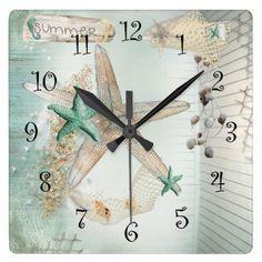 Summer Sea Treasures Beach Clock designed by Butterflysarebloomin. Bathroom Wall Clocks, Treasure Beach, Bed In Living Room, Calming Colors, Summer Parties, Beach Themes, Beach Ideas, Cool Tools, Starfish