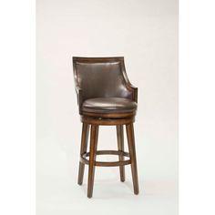 Hillsdale Furniture Lyman Rustic Oak Upholstered Back Wood Swivel Counter Stool