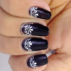 Uma's Nail Art: Black And White Nails : Day 7, The 31 Day Nail Art Challenge…