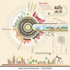 Infographics Industrial Buildings And Residential Areas , Set Of Vector Infographics And Information Graphics - 112116485 : Shutterstock