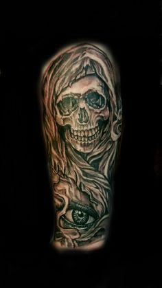 Did this killer #grimreaper  #reaper  sleeve piece last night on the homie Bizkit..  First session on his sleeve..  He's a tall dude so this piece is pretty big..  Bout a foot tall.  I love that he let me put the #eye  design by his wrist..  I think it added alot..  Bunch of people said it reminds em  of #soa  art..  Which is cool cuz  I fuck w #sonsofanarchy   I don't think that's why he wanted it but wk.   #inkfam #tattedthefuckup #ttfu #sotatted #shadowink #naptownreppin #317…