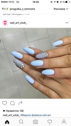 Light Blue & Grey w/ Sparkles Nail Art Sparkle Nails, Fancy Nails, Trendy Nails, Almond Nails, Summer Nails Almond, Best Acrylic Nails, Nagel Gel, Gorgeous Nails, Holiday Nails