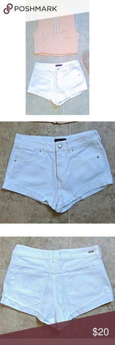 White Denim Shorts - Size 26(Around a size 2 maybe) - White Kendall & Kyle shorts - Cuffed Kendall & Kylie Shorts