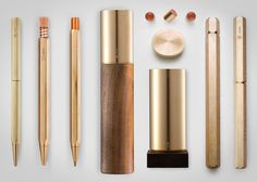 Taiwanese design group Ystudio have created this series of pens which they describe as 'lifetime stationary'. Made from traditional heavy and durable materials such solid brass, copper and bronze, the writing implements have some pretty serious heft to them. This led to the collection being named 'The Weight of Words' after the common idiom.