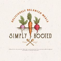 Simply Rooted - Simply Rooted meal prep business needs delicious, warm, earthy, boho feel logo all in one Simply Rooted is committed to providing wholesome meals made with fresh local ingredients delivered to your front doo. Fruit Logo, Web Design, Best Logo Design, Graphic Design, Shop Logo, Business Card Logo, Business Design, Logo Agriculture, Logo Inspiration