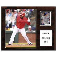 C and I Collectables MLB 15W x 12H in. Prince Fielder Texas Rangers Player Plaque - 1215FIELDERTEX