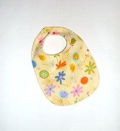 Baby Girl Bib - Flowers on Yellow, $8 | Pasque Flower Creations | Locabal.com #baby #bib